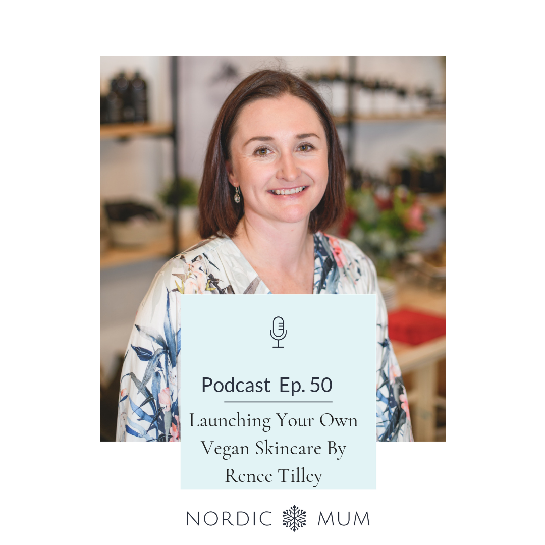 Renee Tilley from Paudhahealing sitting on Nordic Mum Podcast Cover