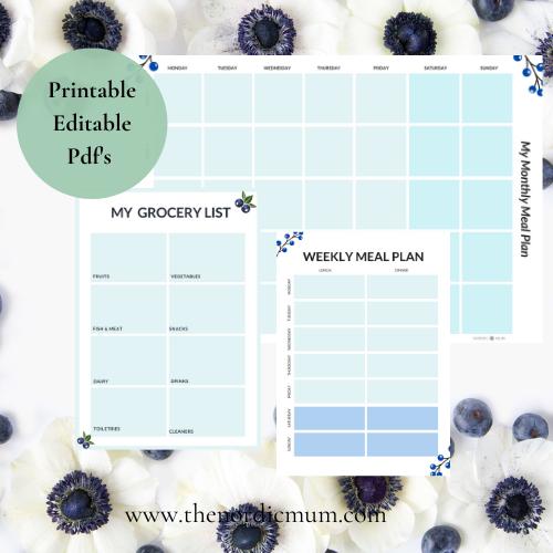 Printable Editable planners